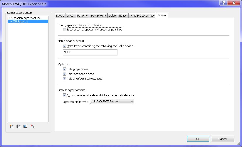 Revit Export DWG Setup Dialog - General Tab